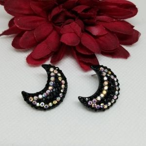 Crescent Moon Crystal Bling Earrings